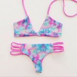 Print Strappy Fashion Bikini Set Swimsuit Swimwear