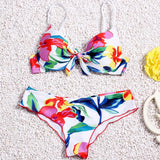 Fashion multicolor print triangle Bikini Swimsuit Swimwear