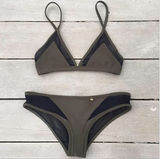 Solid Color Strappy Casual Bikini Set Swimsuit Swimwear