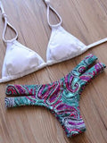 Hollow Out Print Beach Bikini Swimsuit Swimwear