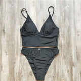 High Waist Strap Solid Color Beach Bikini Set Swimsuit Swimwear
