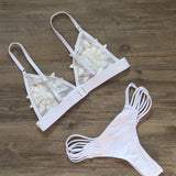 Folwer Hollow Out Strappy Beach Bikini Set Swimsuit Swimwear