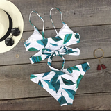 Leaf Print Cross Strap Beach Bikini Set Swimsuit Swimwear