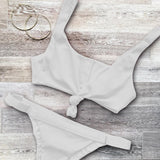 Fashion Solid Color Strap Beach Bikini Set Swimsuit Swimwear