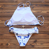 Gradient Print Halter Beach Bikini Set Swimsuit Swimwear