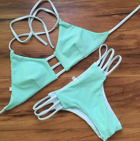 Hollow out solid color Bikini Swimsuit Swimwear