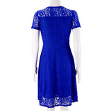 Fashion Lace Printing Short Sleeve Dress
