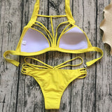 Halter Hollow Out Solid Color Bikini Set Swimsuit Swimwear