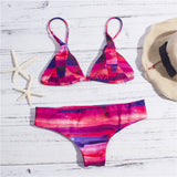 Solid Color Strap Thong Beach Bikini Set Swimsuit Swimwear