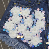 Lace Flowers Denim Fashion Shorts