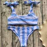 Stripe Strappy Fashion Beach Bikini Set Swimsuit Swimwear