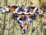 Flower Print Beach Bikini Set Swimsuit Swimwear