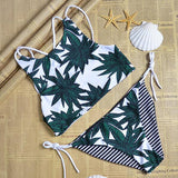 Bamboo Leave Strappy Crisscross Bikini Set Swimsuit Swimwear