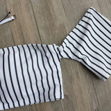 Stripe Fashion Print Offer Shoulder Beach Bikini Set Swimsuit Swimwear
