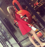 Fashion solid color round neck knit dress