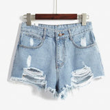 Women'S Hole High Waist Denim Shorts
