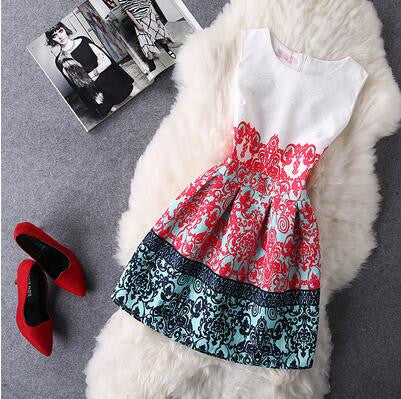 Retro Fashion Print Sleeveless A-Line Dress-33