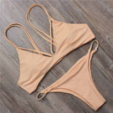 Solid Color Strap Beach Bikini Set Swimsuit Swimwear