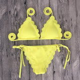 Fashion Scalloped Strappy Multicolor Bikini Set Swimsuit Swimwear