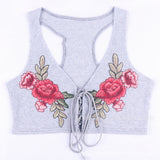 Embroidery Flower Fashion Crisscross Strappy Vest Tank Top Cami
