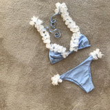 Flower Strap Solid Color Bikini Set Swimsuit Swimwear