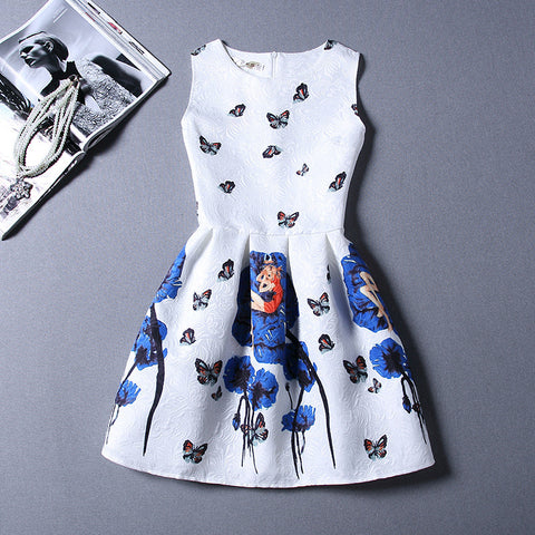 Retro Fashion Print Sleeveless A-Line Dress-41