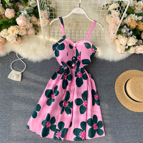 Floral Print Vintage Strap Mini Short Dress Party Polka Dot Casual Women Beach Holiday Retro Vestiods