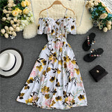 Ruffles Vintage Floral Print Off Shoulder Midi Long Dress Party Women Casual Strap Beach Holiday Vestidos