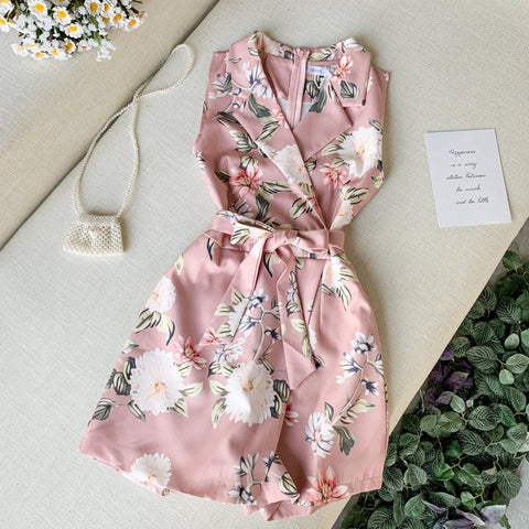Floral Sashes Turn-down Collar Women Female Loose A-line High Waist Playsuits