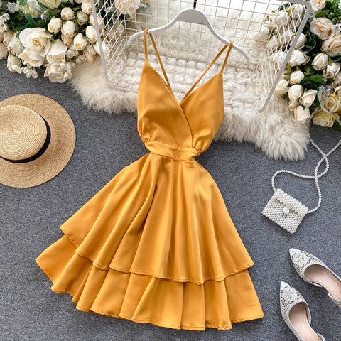 Holiday V-neck Backless Lace Up Ruffles Cakes Solid Elegant Women Lady A-line High Waist Dress
