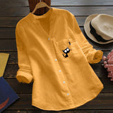 Women Cat Print Blouse Cotton linen Casual Long Sleeve Shirt Blouse Button Tops womens tops and blouses Loose Shirts Top