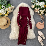 Vintage Slim Button Dresses Winter Sweater Bodycon Knitted Midi Pencil Dress Party Women Office Soft Vestidos