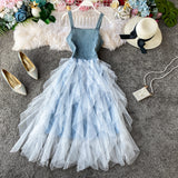 Denim Spaghetti Strap Puffy Mid-long Lace Solid High Waist Women Female Lady Dress