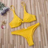 Sexy Women Bikini Sets Padded Bra Thong Bottoms Swimwear Swimsuit Set