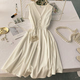 Button Midi Dress Casual Party Vestido Women A-line Tank Sundress High Waist Evening Beach Vestidos