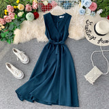 Slim V Neck Summer Midi Long Bandage Dress  Party Tank Sundress Women Casual Elegant A-line Tie Vestidos