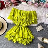 Multi Ruffles Slash Neck Petal Sleeve Loose Blouse Women Female Solid Chiffon Blouse
