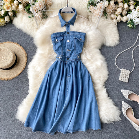 Women Halter Denim Dress Vintage Button Backless Streetwear Dress Fashion Sleeveless Chic Party Dress
