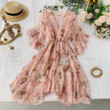 Fashion Women's Dresses Holiday Flare Sleeve Tie Irregular Floral Chiffon