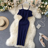 Vintage Slim Draped Bodycon Knitted Short Dress Strap Off Shoulder Dress Party Women Sexy Club Dresses