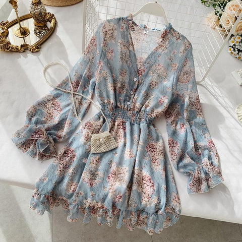 Fashion Women French Dress Female Temperament V-neck Long-sleeved Chiffon Floral Dresses