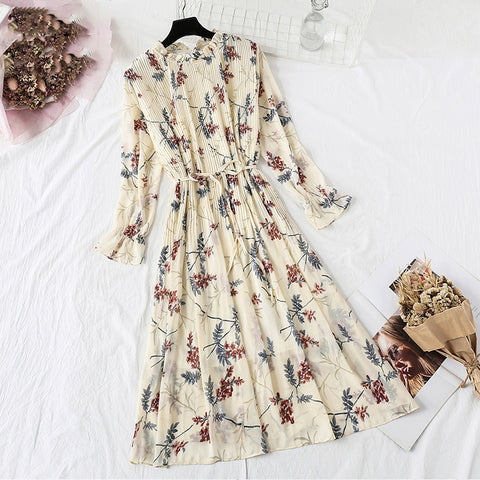 Stand Collar Floral Print Women Dress Lace Up Female Pleated Dress Party Midi Chiffon Vestidos Femme