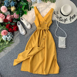 V Neck Button Slim Dress Midi Long Tank Sundress Bandage Party Women Tunic Elegant Dress