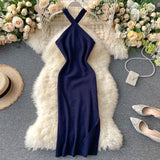 Vintage Slim Halter Neck Sexy Split Bodycon Knitted Midi Long Dress Cross Criss Strap Party Women Dress