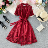 Fashion Women's Dresses French Dress Popular Temperament Square Collar With Hollow