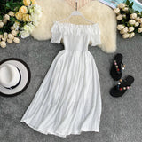 Ruffles Slim Off Shoulder Ladies Sexy Midi Long Dress Party Women Casual Beach Holiday A-Line dress