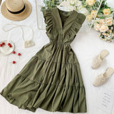 Ruffles Button Midi Dress Party Tank Sundress Women Casual High Waist A-line Beach Holiday Vestido
