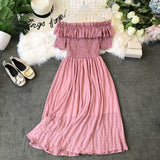 Women Sexy Off Shoulder Dress Ladys Slash Neck Short Sleeve High Waist Medium Long Dresses