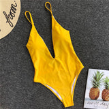 Women Sexy Solid Straps Backless Bodysuit Swimsuit Swim Padded One Piece Swimsuit Bathing Suit