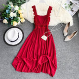 Fashion Women's Dresses Lace Strap Tube Top Waist Slim Retro Red Long Dress